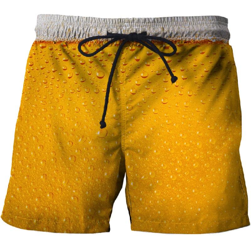 Bière 3D impression plage vacances plage shorts Masculino rue vêtements hommes anime décontracté bord de mer plage shorts2020new