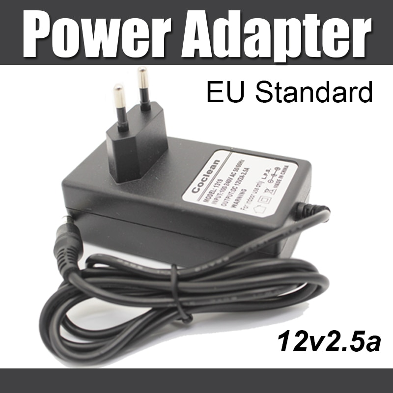 Adaptador de corriente DC 12v 2.5A enchufe estándar de la UE fuente de alimentación funciona con cámara IP, NVR, CCTV DVR, cámara CCTV