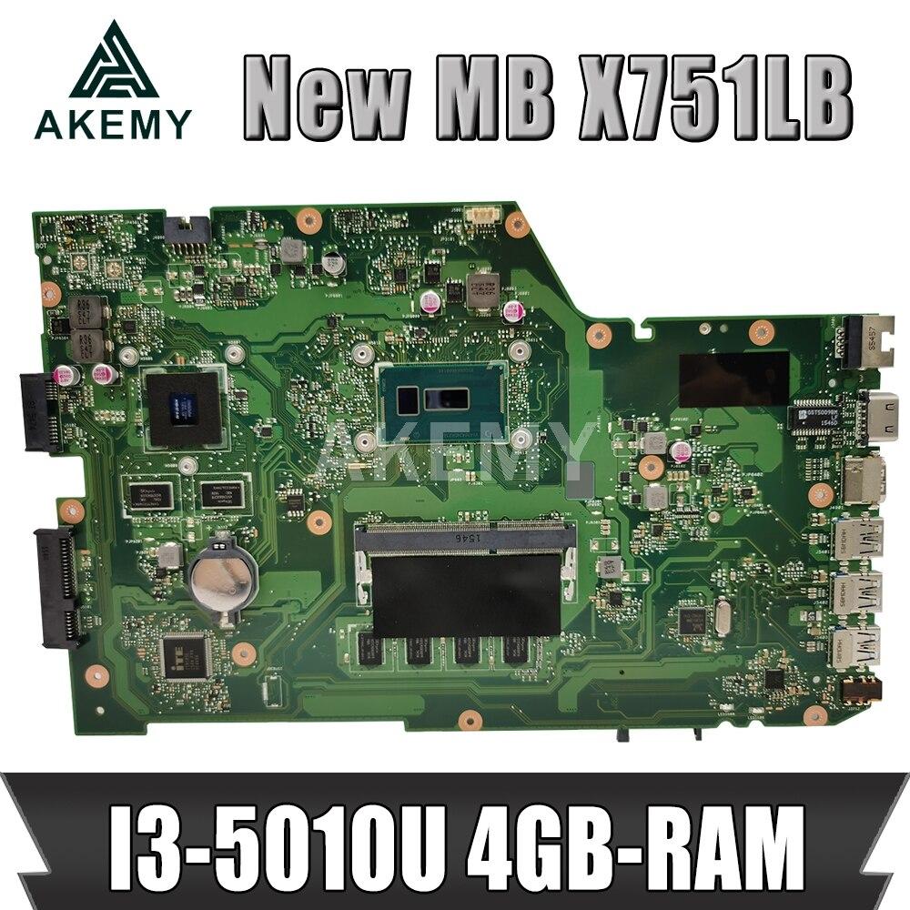 Akemy X751LB اللوحة ل ASUS X751LJ X751LB A751L X751L اللوحة المحمول I3-5010U 4GB-RAM GT920M EDP شاشة