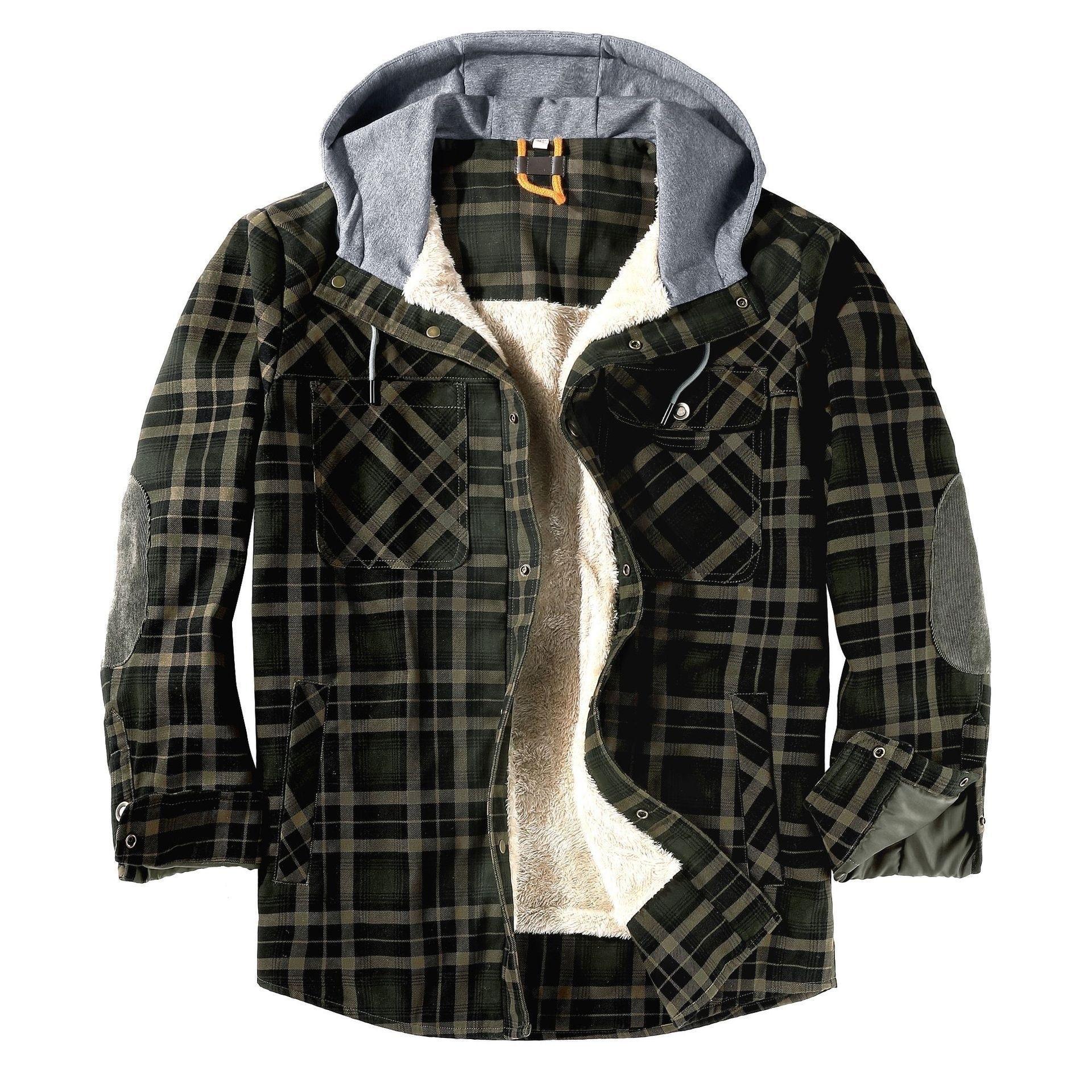 ماركة الشتاء منقوشة الفانيلا سترة قميص للرجال سميكة الدافئة طويلة الأكمام الصوف مقنعين قمصان القطن معاطف رجالي Camisa Masculina