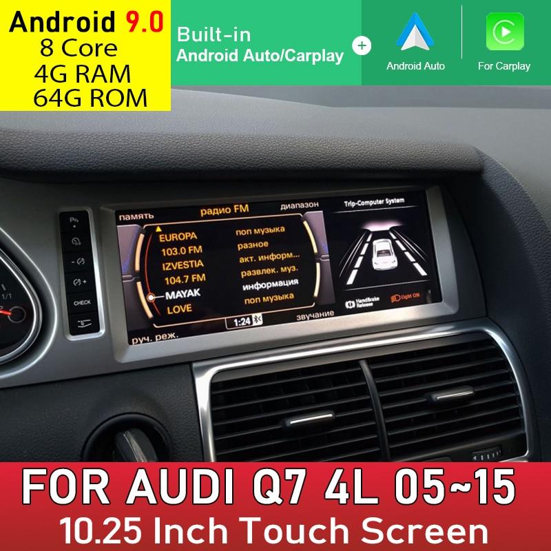 Android 9,0 4 + 64G para Audi Q7 4L 2006 2007 ~ 2015 MMI 2G 3G reproductor Multimedia GPS de navegación con cable Carplay Android Auto