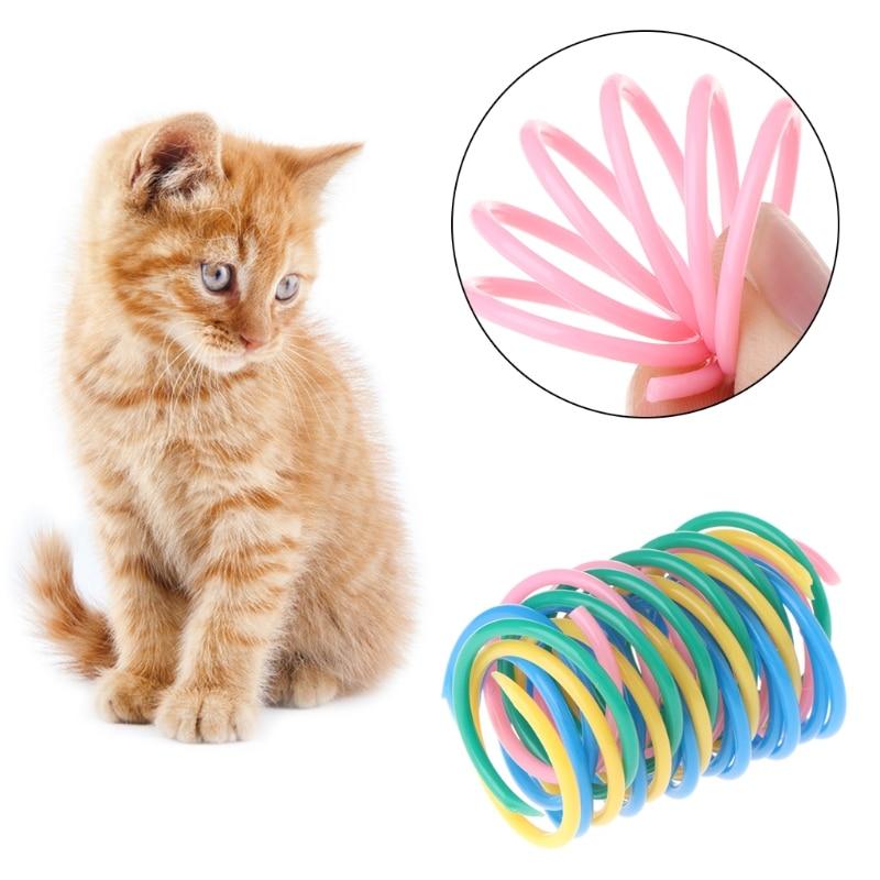 5 pçs brinquedos de gato colorido primavera plástico bounce pet cor aleatória calibre largo pesado