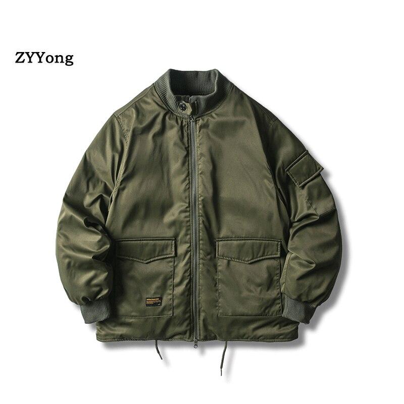 Зимняя куртка в стиле милитари, верхняя одежда для мужчин, куртка-бомбер с хлопковой подкладкой, повседневная бейсбольная куртка, университ...