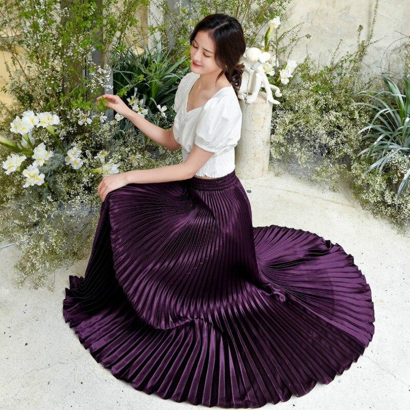 Korean Women Fashion Pleated Satin Long Skirt Female Chic Streetwear Elastic High Waist Red Skirts Saia 2020 Spring Summer FY316