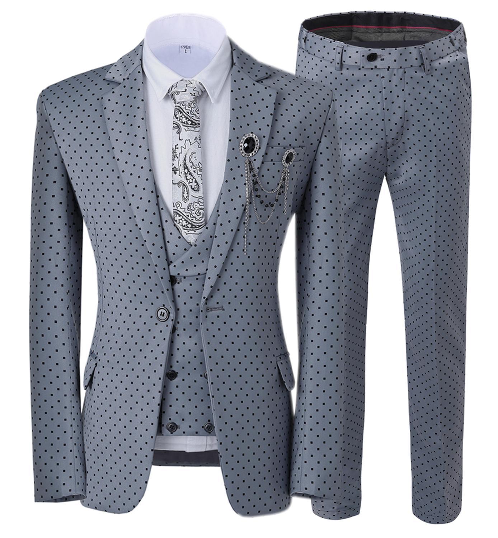 بدلة رجالية من ثلاث قطع من البولكا نقطة للأعمال ، الترفيه ، الاحتفال ، المكتب ، مأدبة ، الزفاف ، بدلة مخصصة (معطف سترة السراويل)