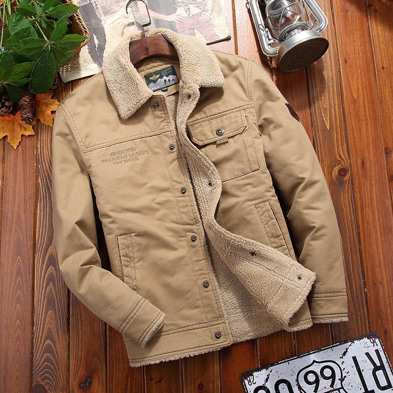 100%cotton Denim Winter Jacket Men New Fleece-lined Thickened Warm Men's Coat Casual Khaki Green Lamb Parka Men Trendy Jacket