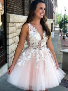 Sexy Pink Cocktail Dresses Short Lace Appliques Beaded Sheer Top Soft Tulle Plus Size Prom Party Gowns Homecoming Dresses Cheap