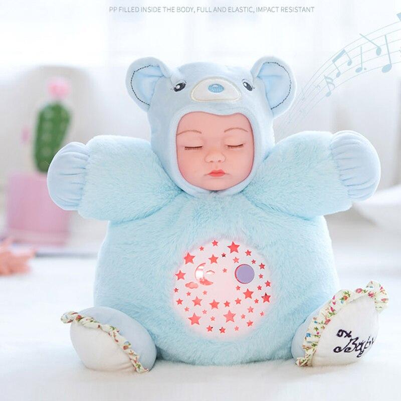 25CM Lullaby Sound Plush Dolls Silicone Sleepy Reborn Baby Toys 7 Color Light Plush Bear Instrument Puzzle Luminous Gift Toys