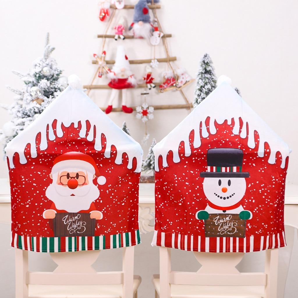 Fundas de Papá Noel para mesa de cocina, fundas de silla de Navidad, fundas de decoración para fiesta en casa, fundas de comedón @ B