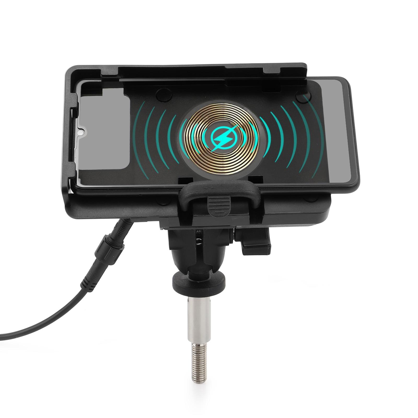 ل BMW K1600GT K1600GTL R1200RT R1200RT LC R1250RT نظام تحديد المواقع العالمي للدراجات البخارية حامل هاتف المحمول 2 في 1 لاسلكية/USB حامل شاحن سريع