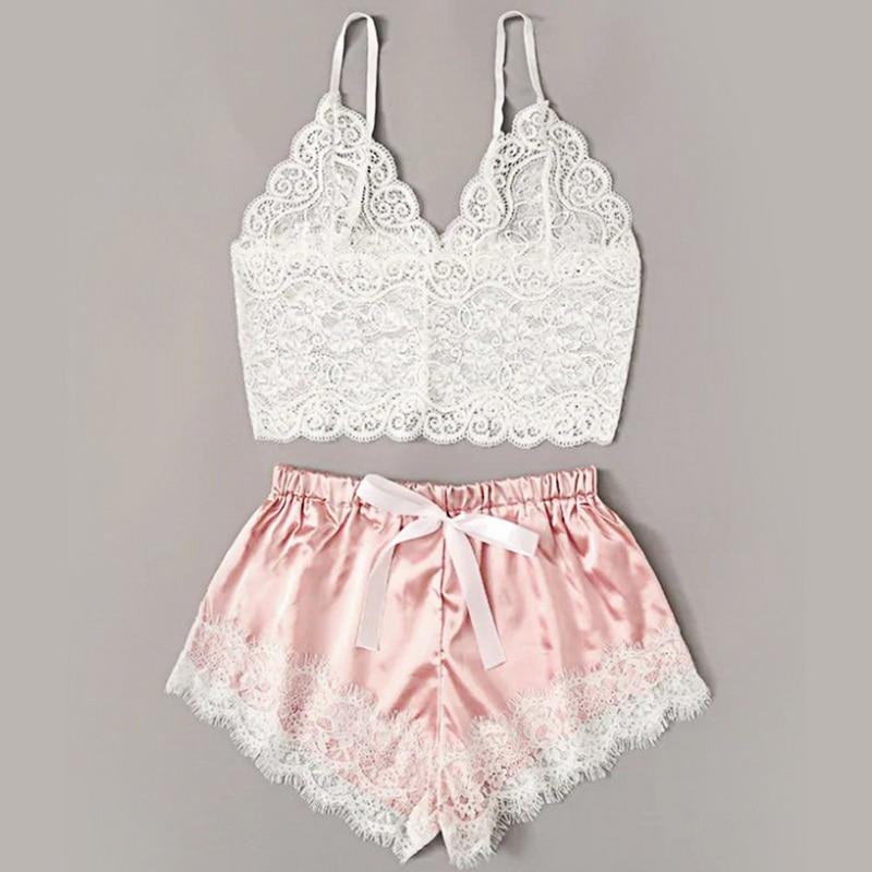 New Women Underwear Wire Free satin bra  Bra and Panty Set Hollow Lingerie Women Brassiere Bralette