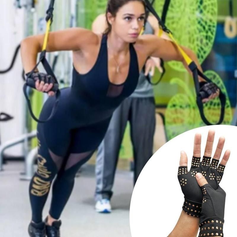 1 Pair Magnetic Therapy Fingerless Gloves Arthritis Gloves Rheumatoid Compression Hand Pain Relief Heal Joints Health Care Tool