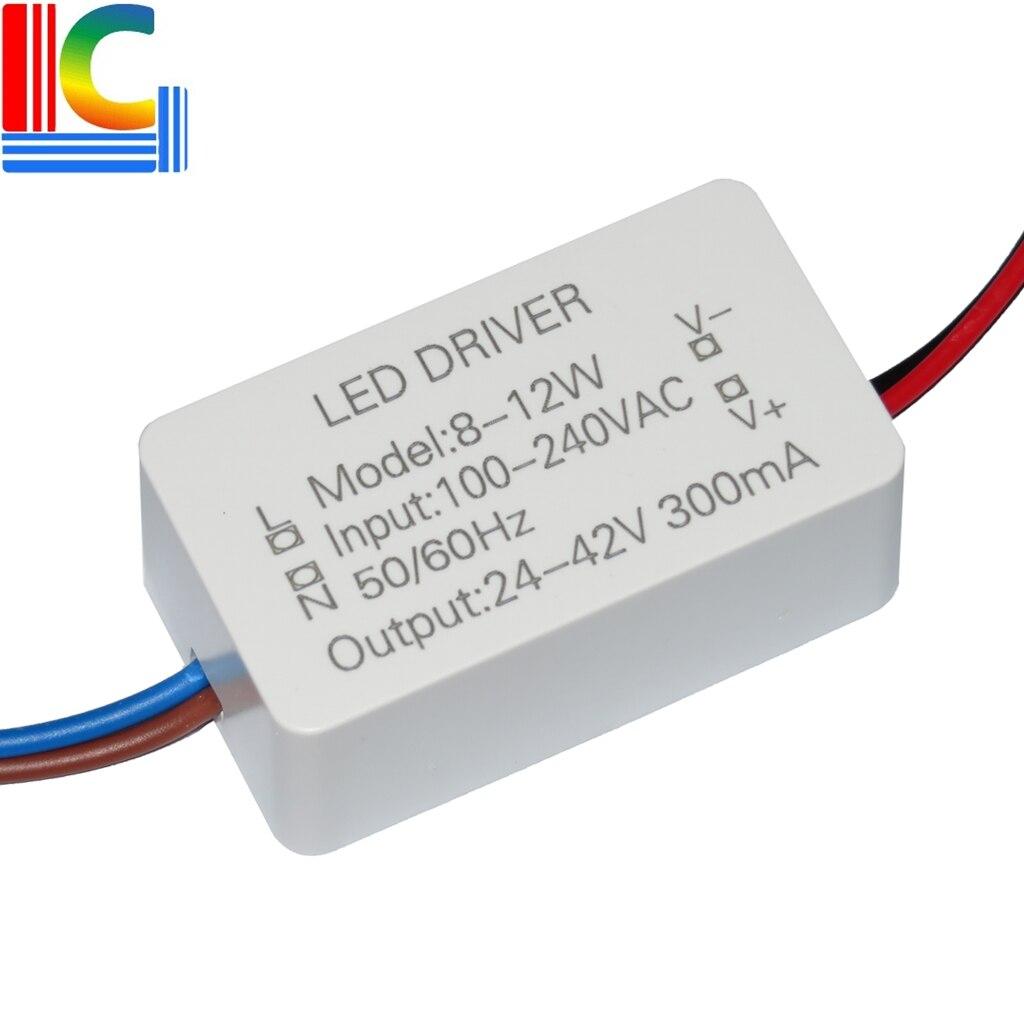8W 9W 10W 11W 12W LED Driver adaptador 24V- 40V 300mA fuente de alimentación 85-265V AC-DC iluminación transformador LED Downlight 8-12*1W