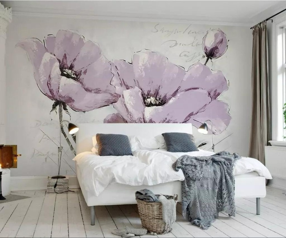 Papel pintado personalizado simple de moda hermosas flores púrpuras Sala dormitorio sofá pared de fondo