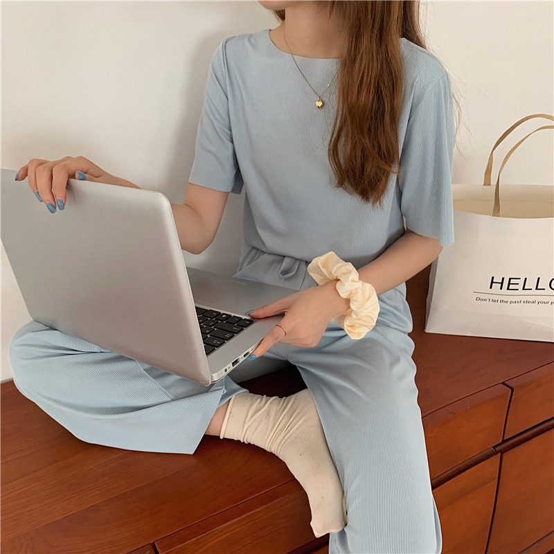 CMAZ 2021 Summer 2 Pieces New Soft Outfit Loose T-shirts Short Sleeve Top Leisure Trousers Two-piece