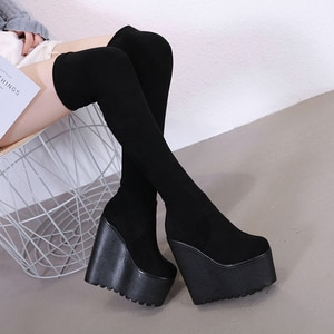 Long boots women's knee 17cm new high tube slope heel thin long tube net red spring 2021 platform boots gothic