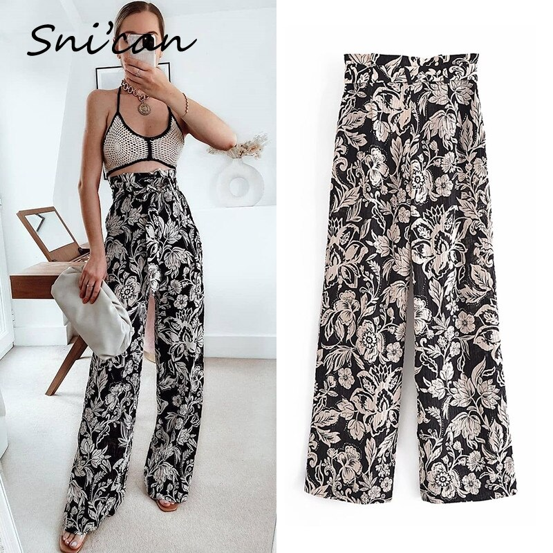 Snican Black Floral Print High Wasit Sashes Long Pants Fashion Casual Summer Women Trousers Pantalon Femme Za 2021 Streetwear