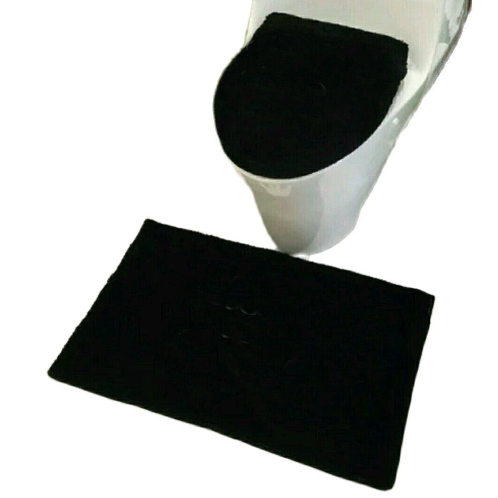 شتاء دافئ أسود أبيض معنقدة طقم سجادة/ حصيرة طقم مرحاض لينة عدم الانزلاق