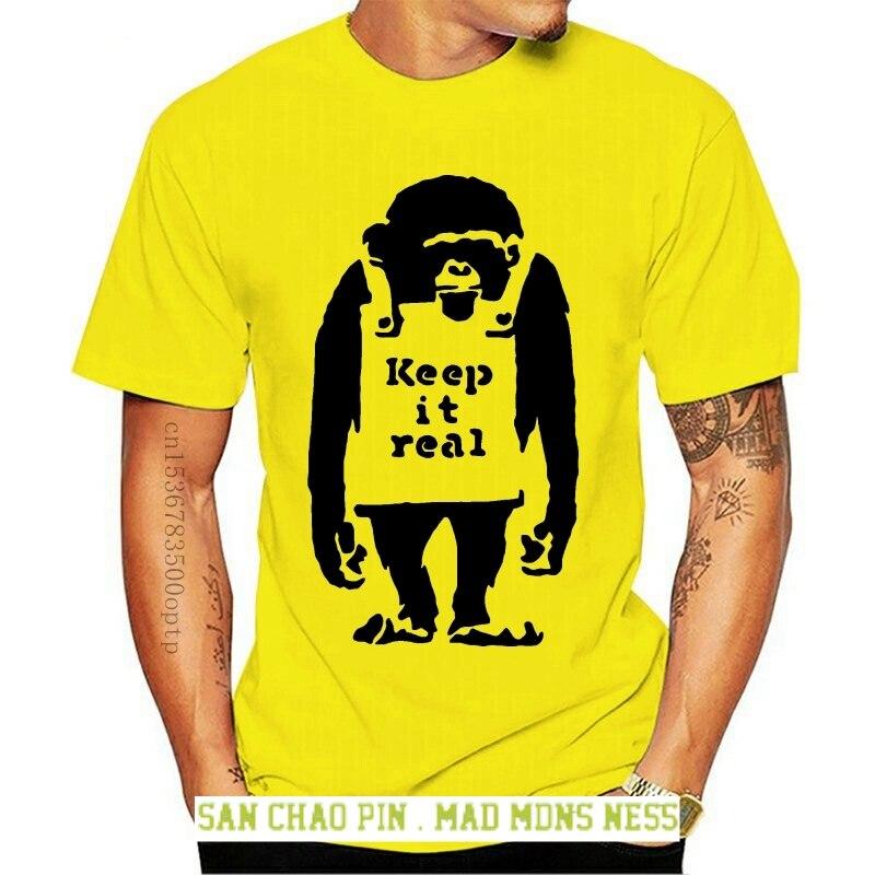 Camiseta Unisex de algodón con estampado de mono Real camiseta divertida de...