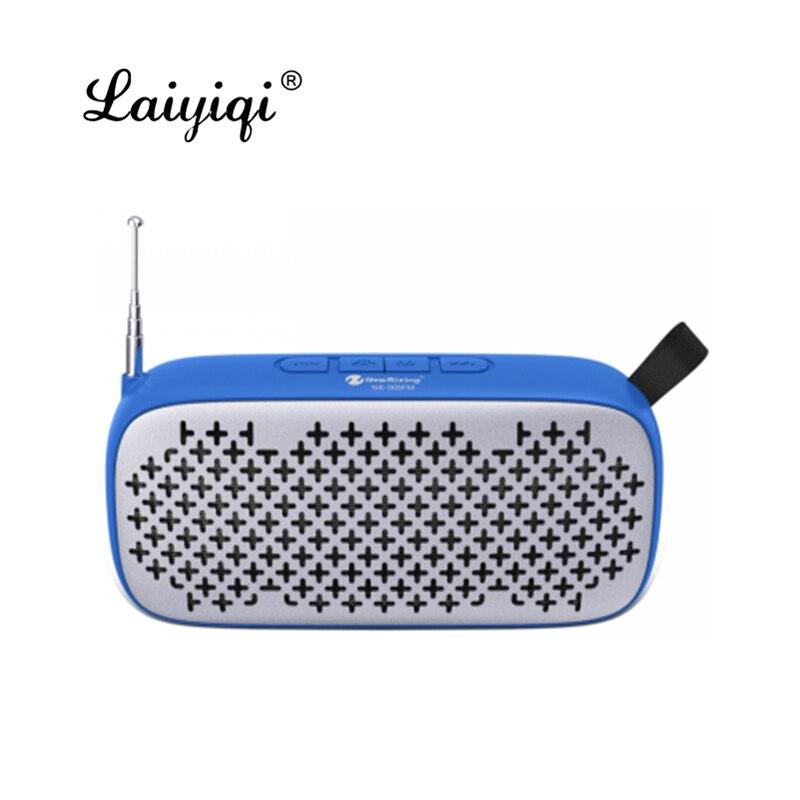Laiyiqi-altavoz bluetooth con antena, radio FM, portátil, correa de cuero, USB, manos...
