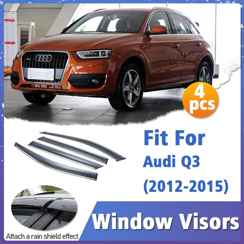 Window Visors Guard for Audi Q3 2012-2015 Visor Vent Cover Trim Awnings Shelters Protection Guard Deflector 4pcs 2011 2012 2013
