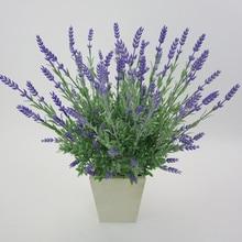 3pcs/set 7 Forks Artificial Lavender Green Plant Simulation Plastic Plants Fake Grass Wedding Venue Layout Photography Props