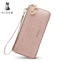 FOXER Women's Split Leather Long Wallets Female Clutch Bag Fashion Card Holder Luxury Cellphone Purse for Lady Zipper Wallet