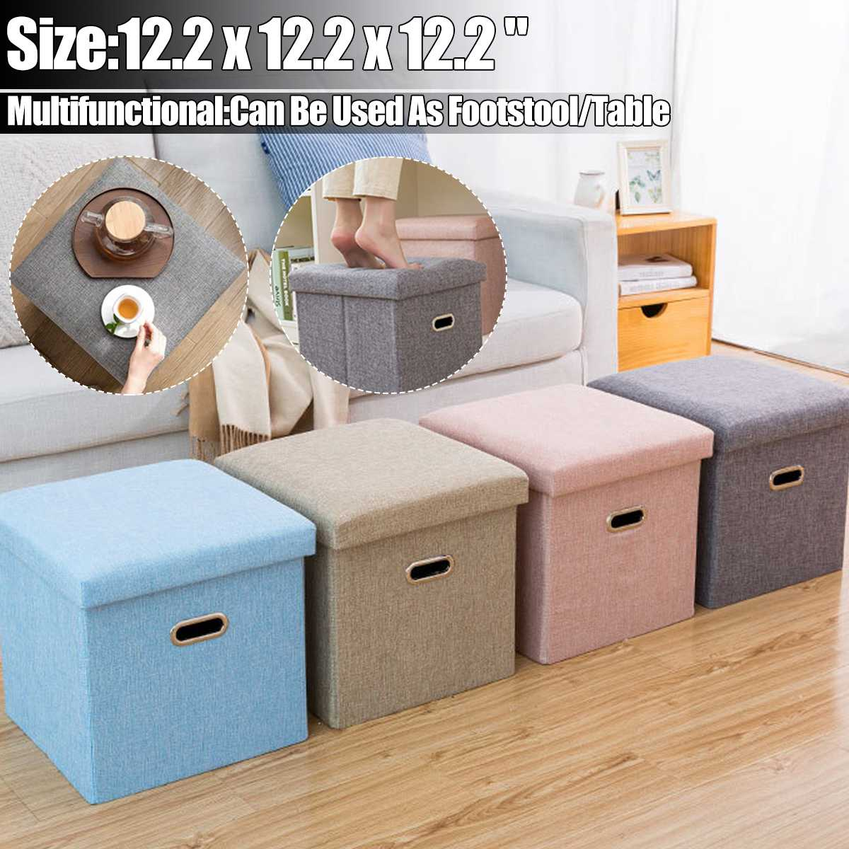 ¡Oferta! Taburete de almacenamiento de tela plegable multifuncional, caja de banco, pequeño sofá, estilo minimalista artístico, silla para niños, taburete de pie 31x31x31cm