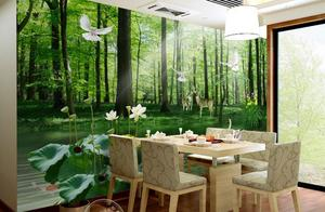 customize 3D photo wallpaper Beautiful green forest scenery wall papers home decor modern
