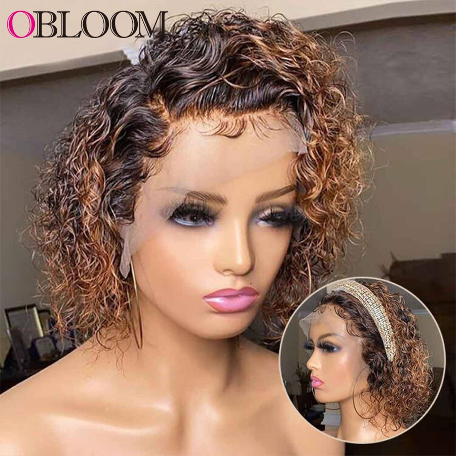Ombre 13x4 Lace Frontal Wig Curly Pixie Cut Wig Human Hair Wigs 150% Short Bob Wig Pre Plucked Bleached Knots Wig Brazilian Wigs