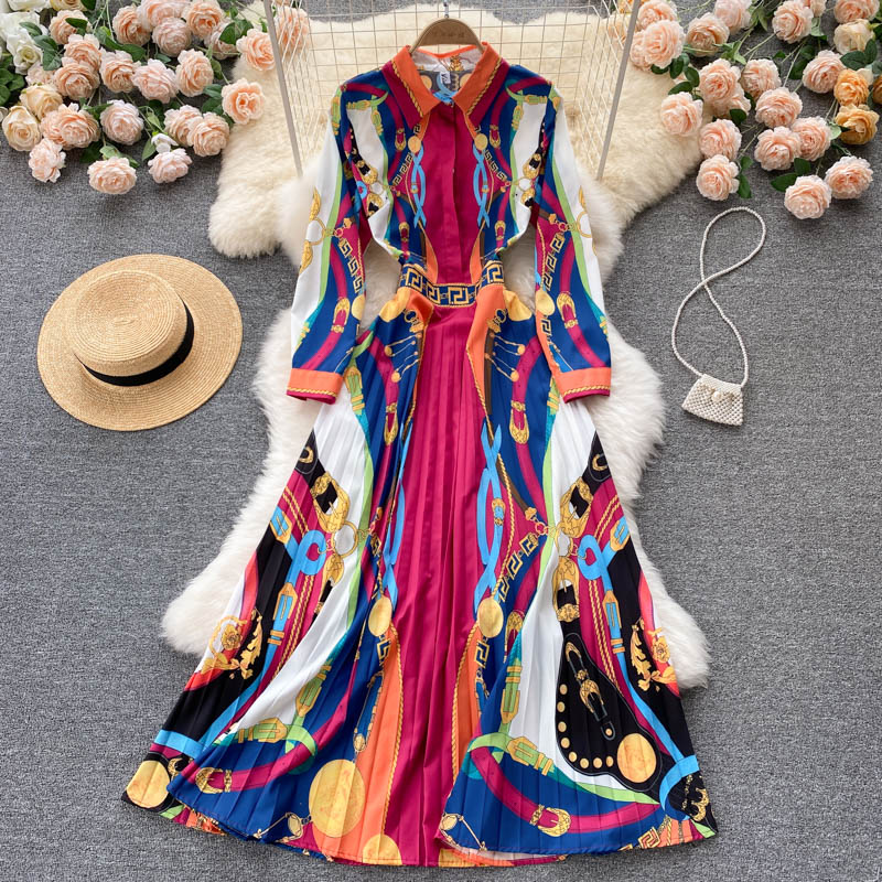 Fitaylor ربيع الخريف المرأة البوهيمي طباعة بولو الرقبة فستان بكم طويل الإناث عالية الخصر ألف خط عطلة نمط مطوي فستان