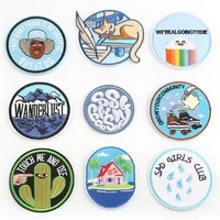 cartoon patch circular embroidery patch diy decorative clothing accessories for clothing backpack ironing onto clothing