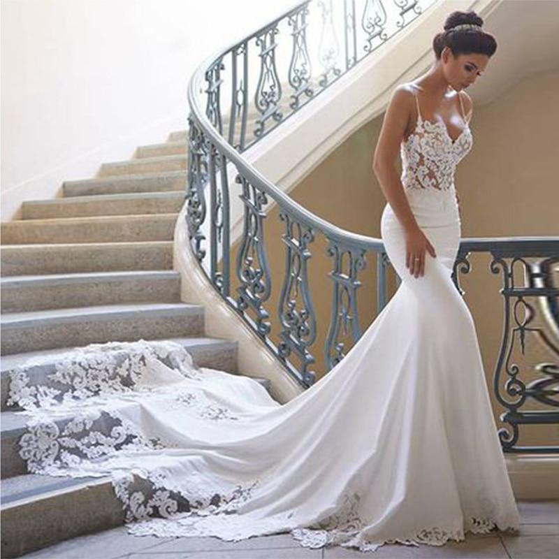 Vestido de novia encantador de sirena, sin mangas, Vintage, con encaje, Espalda...