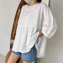 Korean Fashion Autumn New 2021 Loose Casual Blouse Solid Color Simplicity Round Neck Long Sleeve Fol
