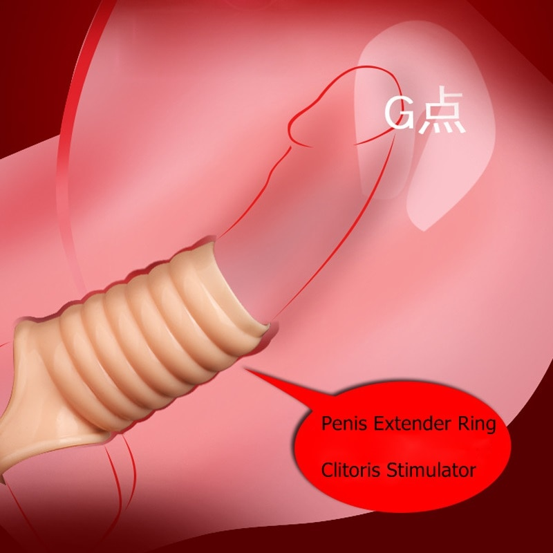 Men Delay Lock Sperm Fine Condom Threaded Enhancer Ring Penis Extender Sleeve Erection Dick Cock Ring Sex Toys For Men Intimate 12 speeds dildo double sexual products for husband and wife of durable vibration condom for men with lock sperm ring for women