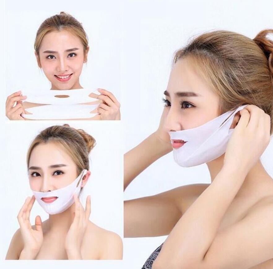 4d dupla v em forma de levantamento de máscara facial emagrecimento fino rosto máscara de gel ferramentas de elevador de rosto pendurado orelha mulher máscara facial tratamento