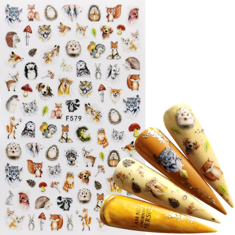 AliExpress - 1 PC Mix Animal Nail Stickers Flower Butterfly 3D Adhesive Sliders Wraps Tips Charm Art Manicure Decorations