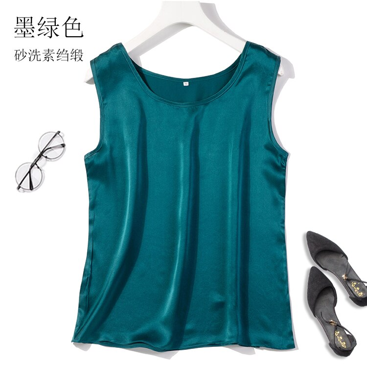 100% de seda pura de satén para mujer, camiseta sin mangas, blusa, chaleco sin mangas, Talla M L XL JN425