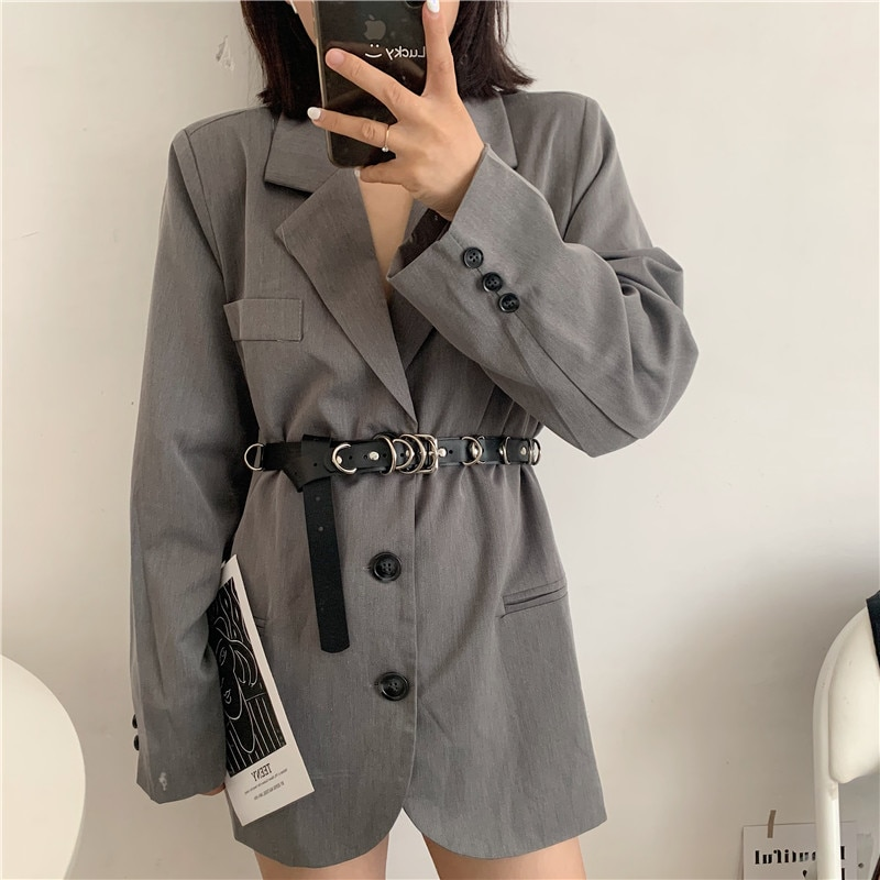 Soft Leather for Women Hip Hop Punk Decorative Ins Style Fashion All-Match with JK Dress Coat Waist