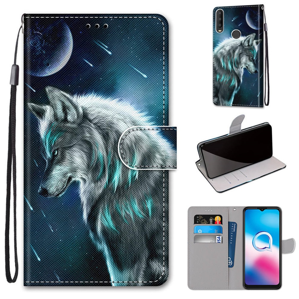 Cover Coque For Alcatel 1 3 3L 3X 1 1S 1L 2019 2020 2021 Cartoon Leather Flip Stand Fundas Case Phone Cover Cases Shell Etui
