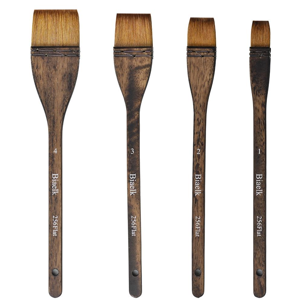 1PC 256Flat High Quality Goat Hair Wooden Handle Watercolor Artist Art Supplies Paint Brush