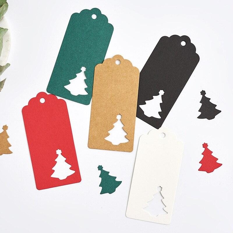 Etiquetas de papel para manualidades, 100 Uds. Varios estilos, artesanías hechas a mano, etiquetas colgantes para Insumos para envolver regalos, etiquetas para recuerdos de Navidad, mariposa de Navidad