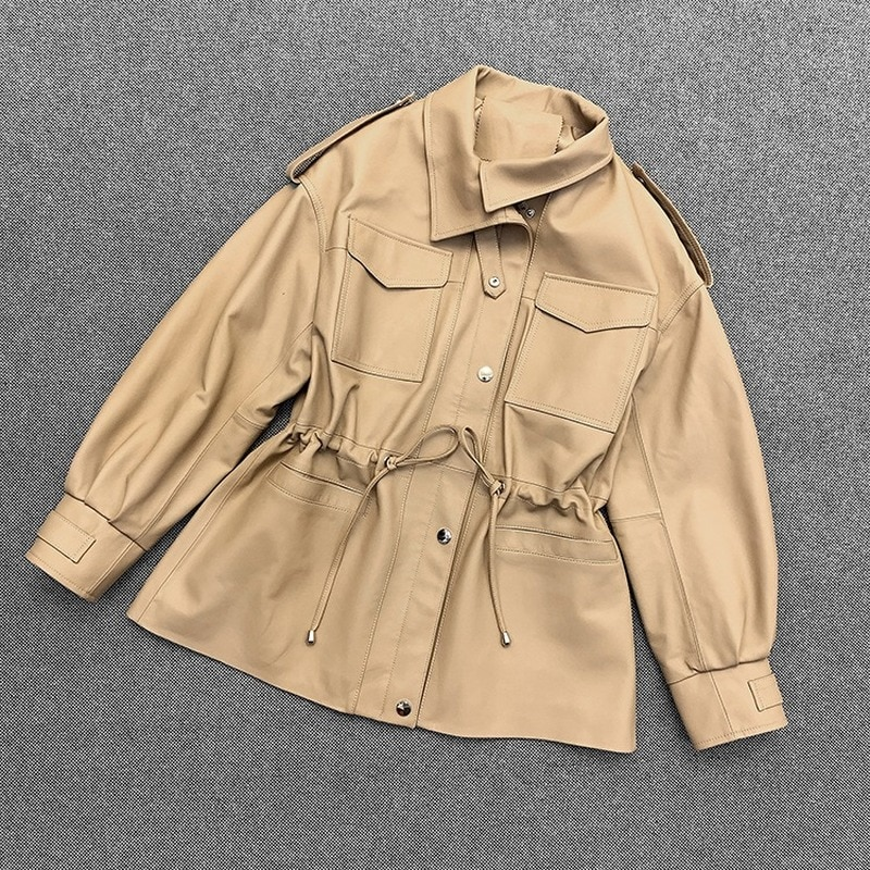 Autumn Spring Black Real Sheepskin Genuine Leather Suit Casual Jackets Womens Overcoat Korean Jacket Dust Coats Suits Outerwear