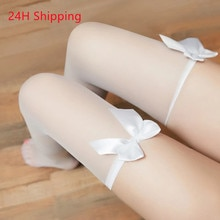 YU KUI sexy stockings solid color long tube over the knee bow stockings sexy lingerie body stockings