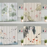chinese style flower bird shower curtain set watercolor ink floral lotus goldfish zen bathtub decor screen washable with hooks