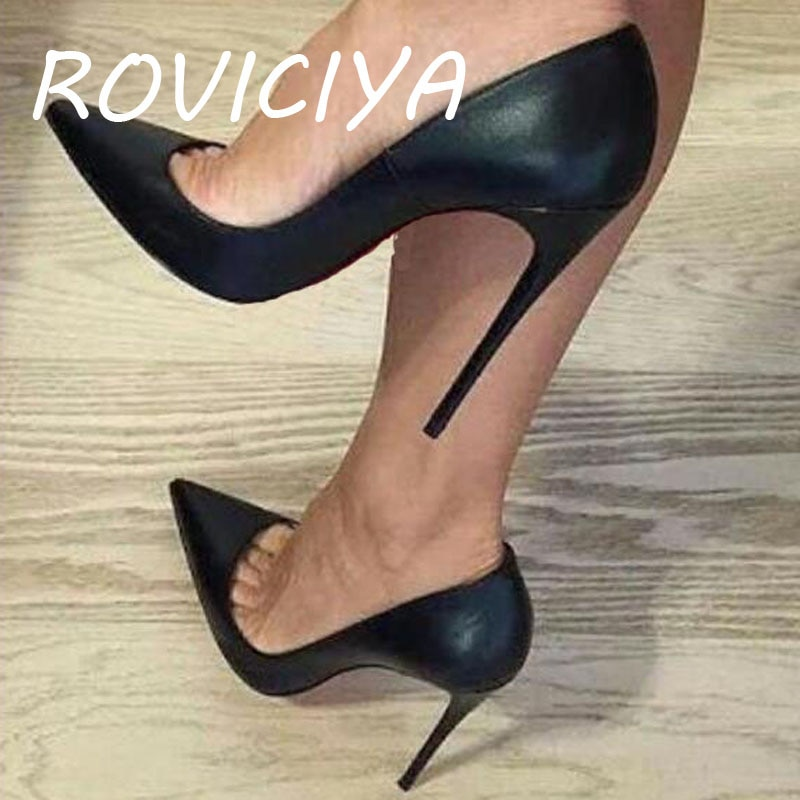 ROVICIYA-حذاء سهرة أسود بكعب خنجر ، حذاء بمقدمة مدببة ، 12 سنتيمتر ، حذاء سهرة مثير ، كعب معدني 10 سنتيمتر 8 سنتيمتر ، YG041