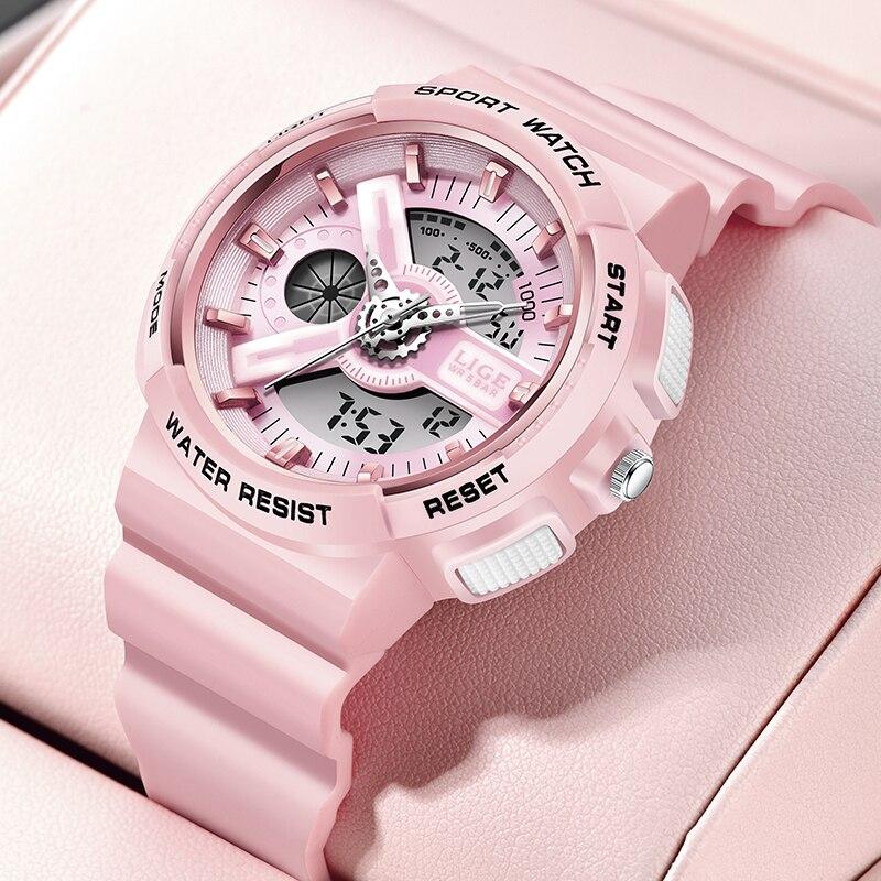 LIGE Top Brand Pink Women's Watches 50M  Waterproof Sports Wristwatch Ladies Quartz Watch Swimming Reloj Mujer Relogio Feminino
