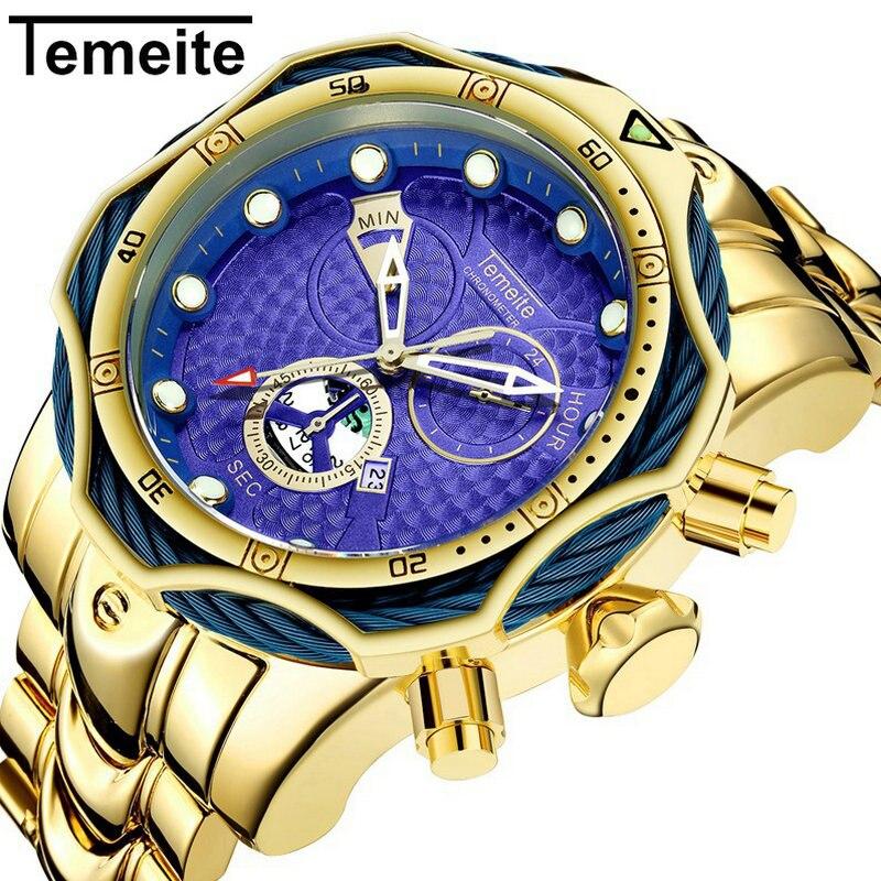 Reloj de cuarzo TEMEITE para hombre, reloj de pulsera con correa de acero inoxidable resistente al agua, con esfera morada y esfera grande para hombre