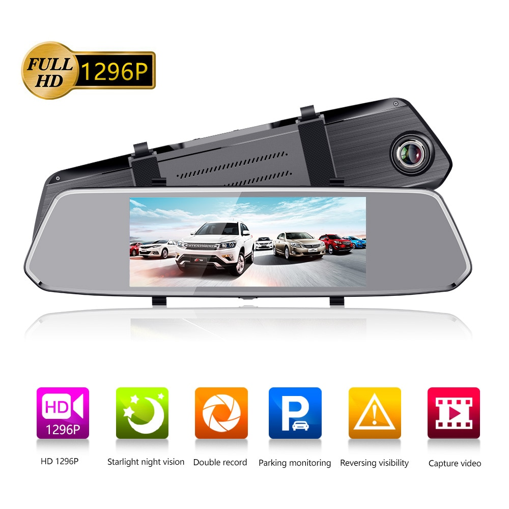 "Podofo 7 ""coche espejo Video DVR Cámara FHD 1080P grabadora de Video Dual lente Secretario retrovisor Cámara DVR cámara de salpicadero Auto"