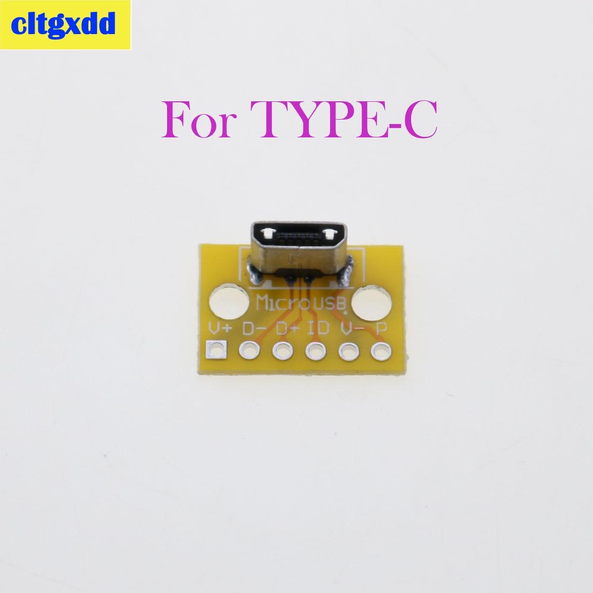 Cltgxdd 1 Uds MicroUSB USB Vertical tipo C Conector de cabeza macho hembra Adaptador convertidor PCB 180 grados Vertical